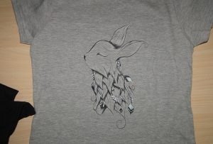 Gray t-shirt printing sample by A2 t-shirt printer WER-D4880T
